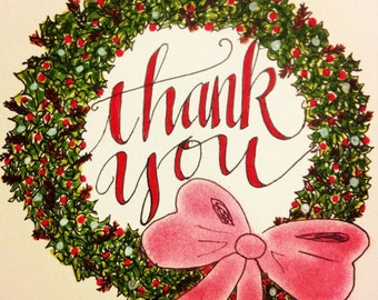 Christmas Thank You Note Cards - Wreath