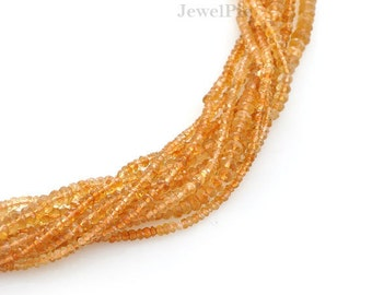 Citrine Rondelle Faceted Semiprecious Gemstone Beads A+ Grade, 3-4 mm, 34 cm Strand