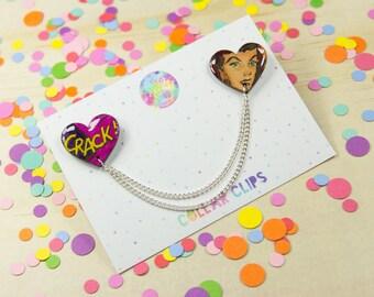 Heart Comic Collar Clips