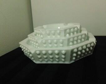 Vintage Set of three Fenton Hobnail pattern Milk Glass Octagonal Ashtrays