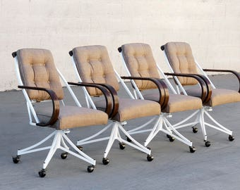 Set of 4 Bentwood and Steel Atomic Dining Chairs by Cal-Style