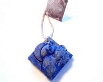 Concrete swallow Christmas ornament, unique ornament, swallow with halo, handmade ornament, tile ornament, bird christmas ornament, blue