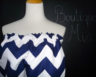 Balloon Tube TOP - Riley Blake - Navy and White Chevron - Made in ANY Size - Boutique Mia
