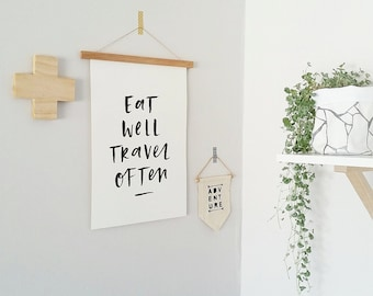 ON SALE! Eat Well Travel Often Typographic Print A3