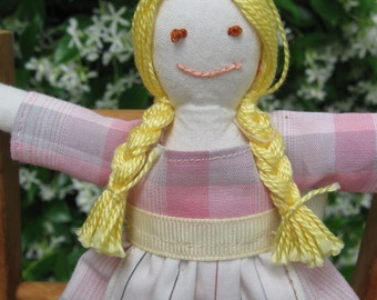 Hand made small rag doll -  Elizabeth in pink plaid dress with white apron