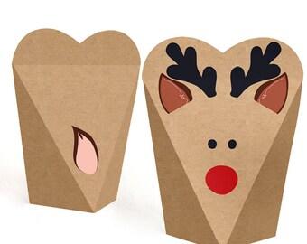 Reindeer Shaped Party Favors - Kids Christmas Party Favor Boxes - Holiday Party Favor Box - Rudolph Shaped Favor Box - Prancing Plaid -12 Ct