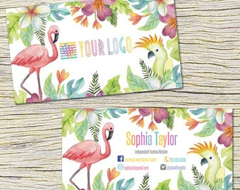 Flamingo Business Cards, Fast Free Personalization and Change, Digital Business Cards,Home Office Business Card,Mandala Business card