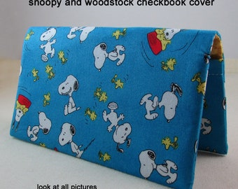 Snoopy Checkbook Cover - Coupon Holder - Snoopy with Woodstock Check Book Cover - Checkbook Cover -  Great Gift Idea - Standard Size