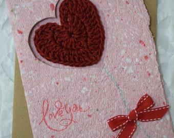 Homemade Recycled Love Card, Crochet Heart, Love You
