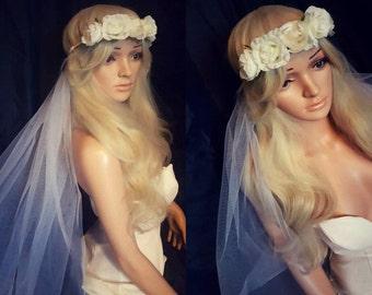 BoHo Bridal Veil Flower Crown Veil Bachelorette Veil Bridal Shower Festival Hen Party Veils Beach Bride To Be
