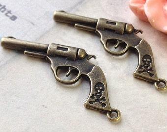 40 x 20 mm Antiqued Bronze Revolver Charm Pendants (.aaa)