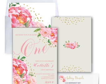 First Birthday Invitation // One // Grey // Peonies // Peony // Gray // Birthday Invitation // Pink // Gold Glitter // BORDEAUX COLLECTION