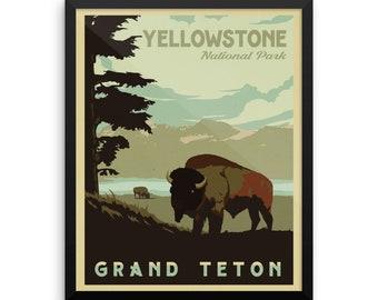 Yellowstone National Park   Grand Teton National Park   Vintage Travel Poster   Framed