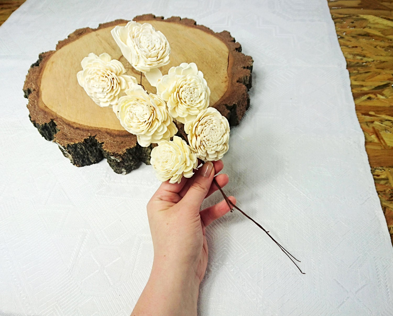 Sola flowers on stems wires wedding white ivory diy bouquet table 550 izmirmasajfo