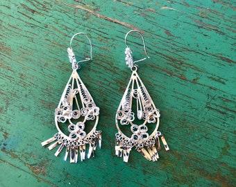 """Mexican Tehuana silver-wash filagree dangle earrings paisley dangles boho Frida Kahlo Style - drop 3 1/2"""""""