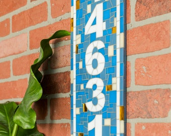 Outdoor House Number Plaque in Blue, White and Gold Mosaic Tile