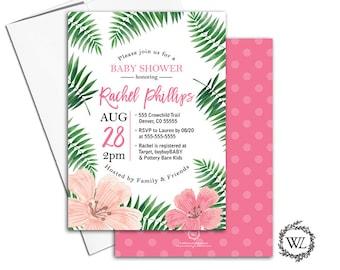 tropical baby shower invitation aloha hawaiian baby shower invites greenery, flowers, summer baby shower ideas - WLP00789