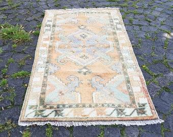 Turkish Rug  58 x 32 inches Oushak Rug Muted Color Rug  Cappadocia Rug Pink Rug Runner Rug Anatolian Rug Carpet