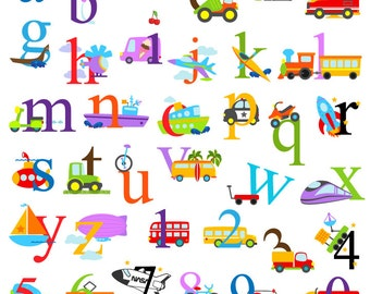 Transportation Alphabet Clipart, Transporation Alphabet Clip Art, Construction Clipart, Lowercase and Numbers - Commercial and Personal Use