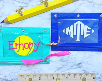 Monogrammed pencil pouch  - personalized 3 ring binder pencil pouch - monogrammed school supplies - Personalized School Supplies - Custom