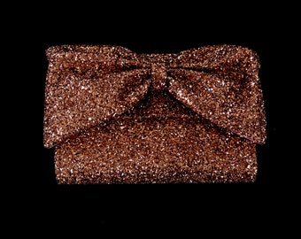 Rose Gold Glitter Bow Clutch Bag - FREE SHIPPING WORLDWIDE