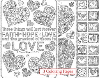 3 Printable Love Bible Verse Coloring Pages; Corinthians Bible Coloring Pages; Digital downloads