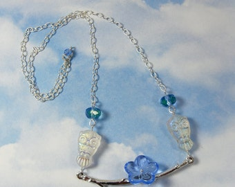 Snowy Owls Necklace - iridescent white glass owls, blue glass flower, silver branch, sterling silver chain -Free Shipping USA