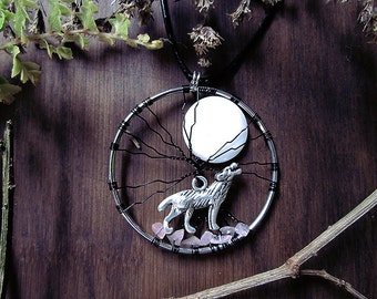 Moon Howl Pendant, Wolf Tree of Life, Wolf Moon, Abalone Shell, Rose Quartz Crystal