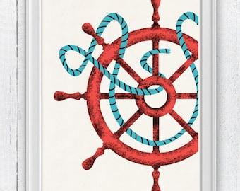 Vintage Ship Wheel - Nautical print poster  , sea life tools print- Original design illustration NTC048