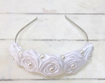 White Satin Rose Flower and White Pearl Tiara Headband   Hair Accessory   Wedding   Party