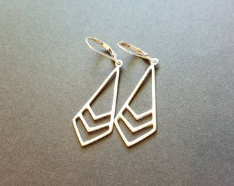 Sterling silver earrings - long geometric teardrops - tribal chevron - leverback or french wire