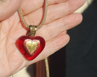 Red glass heart- pendant-fused glass-Valentine-Necklace-valentines heart- glass-heart-pendant-necklace-fused glass-handmade