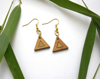 Triangle earrings, gold color inlays, minimal modern earings, natural wood earings, wooden jewel, geometric design, unique gift for her