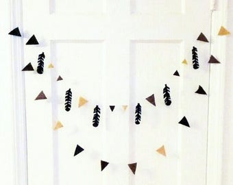Feather Bunting Set - Feather Garland - Ombre Brown Felt Aztec Decor - Photo Prop - Party Banner- Indian Feather -Little Indian Teepee Felt
