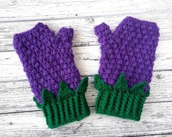 Blackberry Fingerless Gloves, Ladies Crochet Gloves, Purple Texting Gloves, Girls Acrylic Gloves, Kawaii Hand Warmers, Vegan Knit Gloves