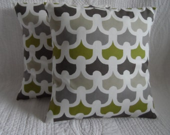 Green Cushion Pillow Cover Cotton Retro Print in Lime Green Beige/Stone Grey Handmade to Order - various sizes available