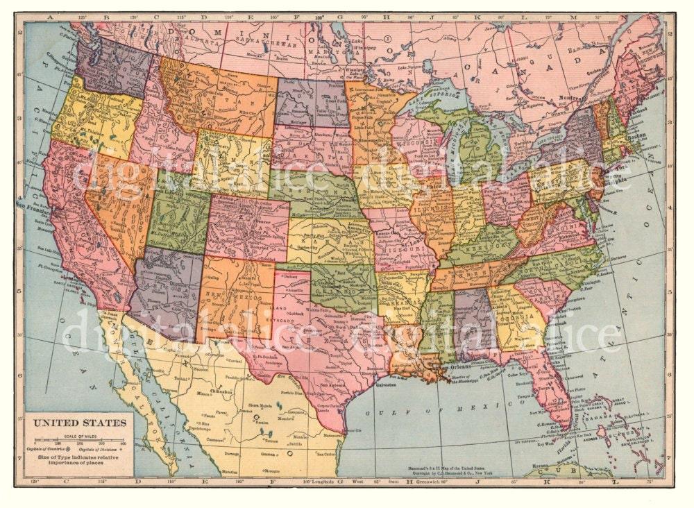 zoom VINTAGE 1938 USA MAP Instant Download