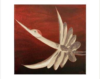 Japanese Bird Painting, Flying Bird Art on Canvas, Original Painting on Canvas, Flying Crane Bird, Japanese Art, Small Red Wall Art