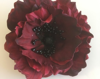 Red leather poppy brooch corsage made to order