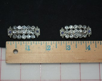 tiny hair clips rhinestones jewelry findings clear rhinestones silver