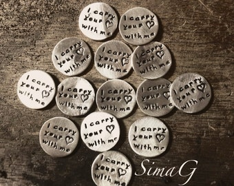 i carry your (heart)  with me   -GOLD filled or STERLING silver - hand stamped handmade by  SimaG