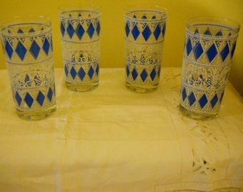 Vintage Mid-Century Bar Glasses - Blue Diamond Design Set of 4