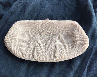 White beaded hand bag
