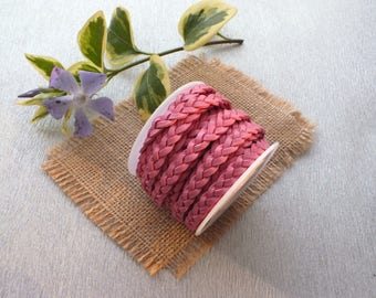 50cm width 6mm pink braided leather cord