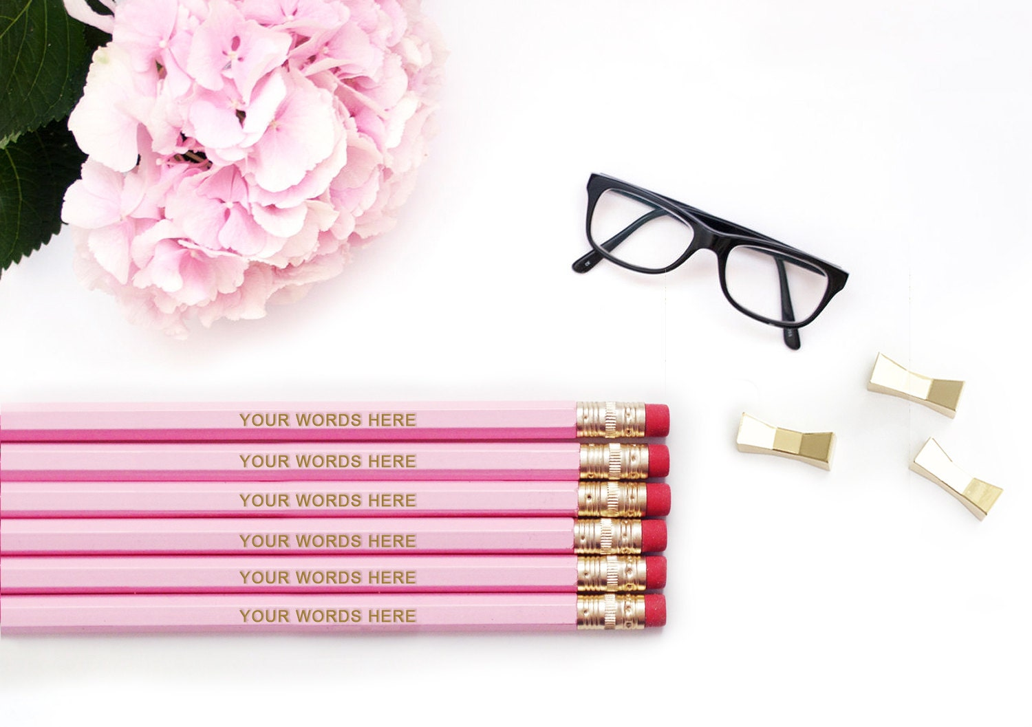 CUSTOM Personalized Pencils Your Words 12 24 48 72 / Pink