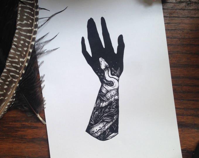 Hand and Snake Print