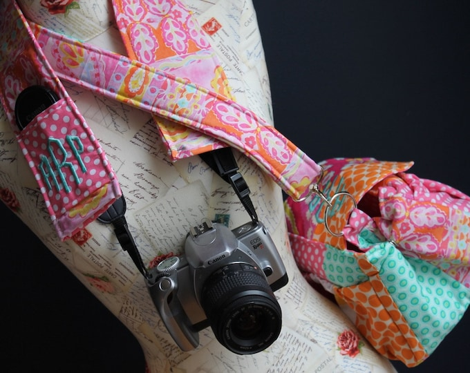 Patchwork Padded Camera Bag and Strap Cover Set by Watermelon Wishes