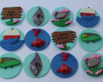 12 Fondant cupcake toppers--fishing