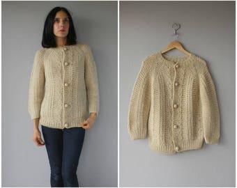 Vintage 1960s Sweater | 60s Cardigan Sweater | Handknit Sweater | Cable Knit Cardigan | Cream Sweater - (small/medium)