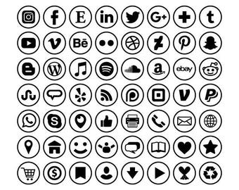 Circle Social Media Icons Set | Transparent Round Black and White Flat Buttons Blog Website | Digital Icons | Personal or Commercial Use